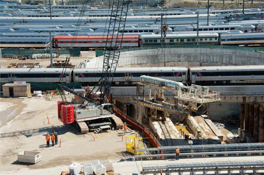 The project will connect four tunnels running under the East River from Harold Interlocking in Queens, N.Y., west, to a new terminal located directly below the existing Grand Central Station in Manhatten.