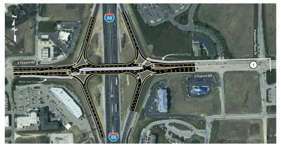 The Indianapolis Star reports that planners with the Indiana Department of Transportation are discussing building a diverging diamond interchange along Interstate 65 in Greenwood, south of Indianapolis. A similar project is planned along Interstate 69 in