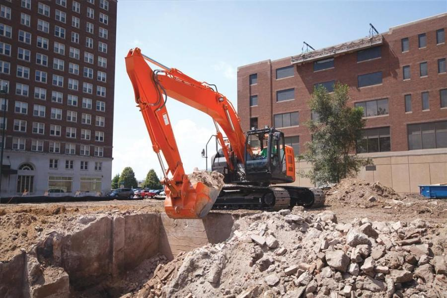 The largest of Hitachi's reduced-tail-swing excavators, the design of the ZX245USLC-5 allows the machine to rotate freely within a small radius.