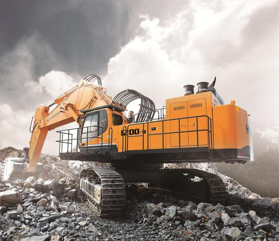 The R1200-9 boasts a dig depth of 26 ft. 3 in. (8 m) a bucket digging force of 125,540 lbs. (115,080 kg) and bucket capacity of 8.76 cu. yds. (6.7 cu m).