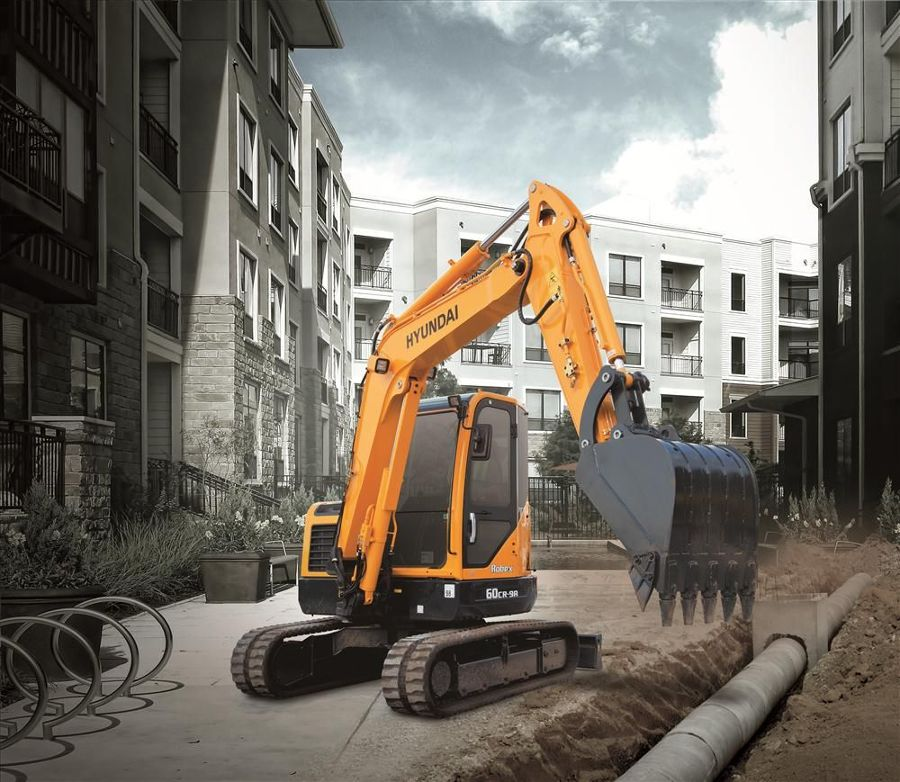 Hyundai's R60CR-9A compact radius excavator is designed for maximum performance and is ideal for tight, confined job sites.