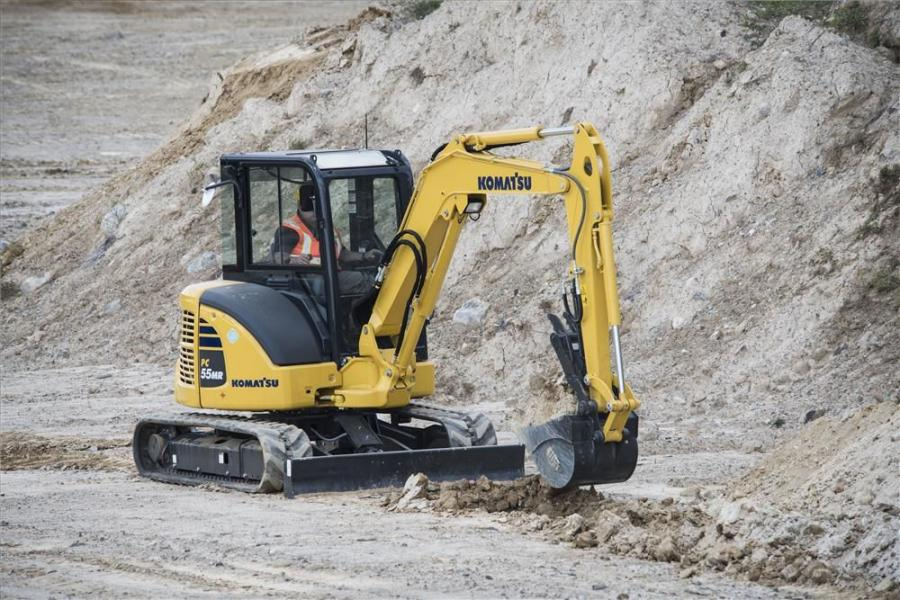 Komatsu America's PC45MR-5 and PC55MR-5 hydraulic excavators feature tight tail swing radii, swing booms and convex sliding doors that hug the machine to help with work in tight spaces.