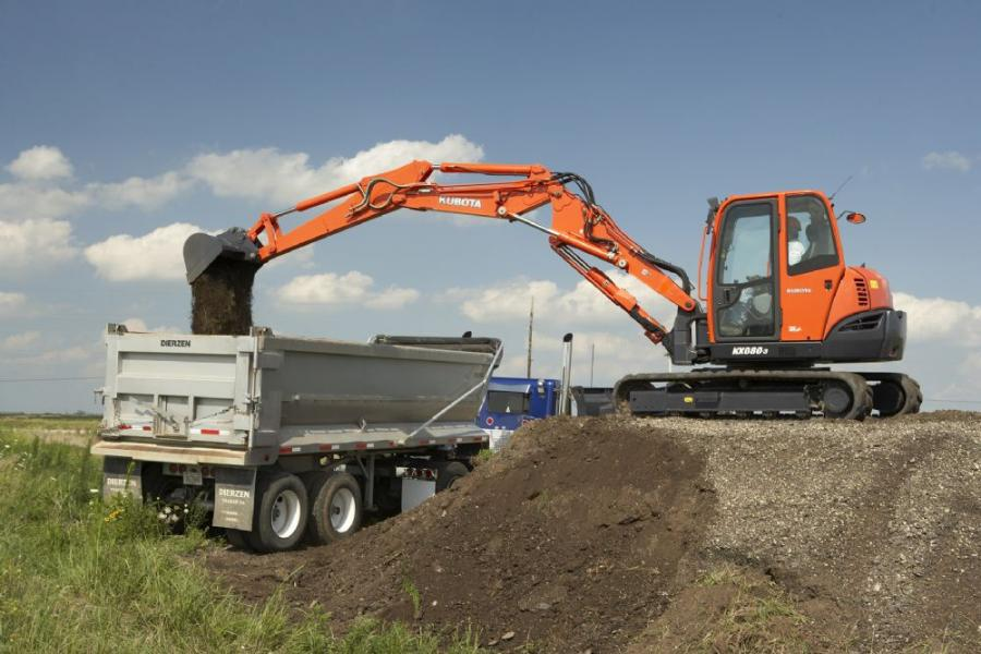 The Kubota KX080-3 super double boom 8-ton (7.2 t) utility class excavator