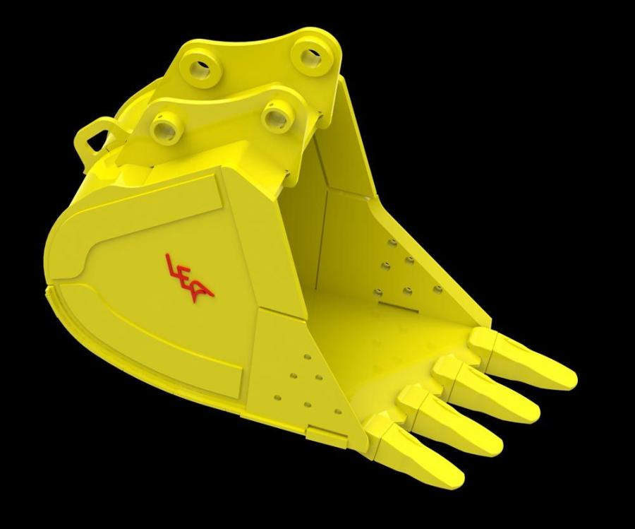 The STAG bucket design allows the operator to focus the excavator's full breakout force on one tooth at a time because the front leading edge is angled. The operator angles the bucket in tough digging conditions allowing the forces to be transmitted
