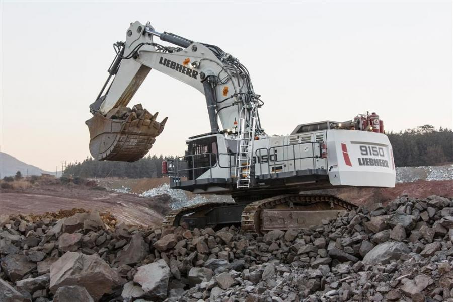 Liebherr's R 9150 mining excavator has an operating weight of 286,600 lbs. (130,000 kg) and is equipped with shovel attachment.
