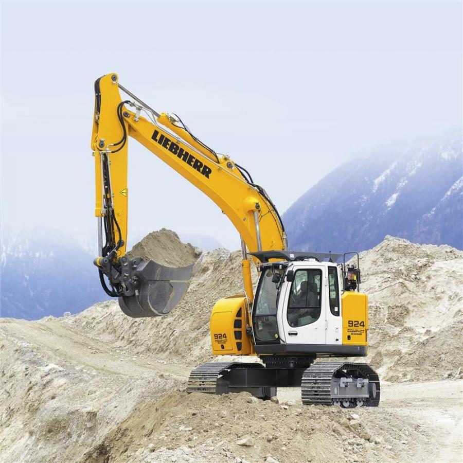 The excavator's rear swing radius is less than 5 ft. 7 in. (1.7 m)., while the swivel radius of its working attachments and cab remains below 6 ft. 3 in. (1.9 m).