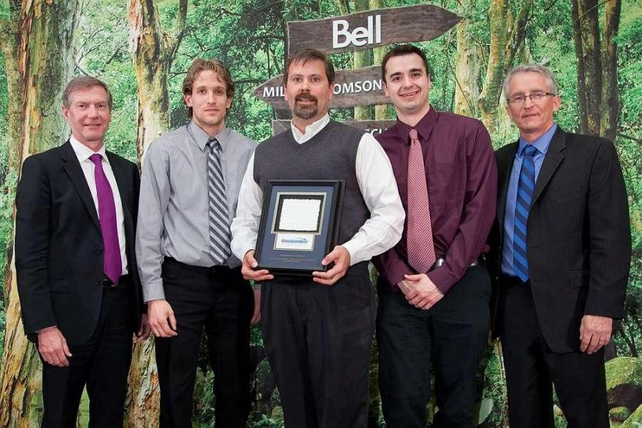 (L-R) are Ian Miles, president and CEO of Cambridge and North Dumfries Hydro Inc.; Tony Shaughnessy, Arriscraft engineering manager; Andy Hall, Arriscraft plant manager; Trevor Cochrane, Arriscraft elecrical technician; and Uel McFall, McFall Consulting.
