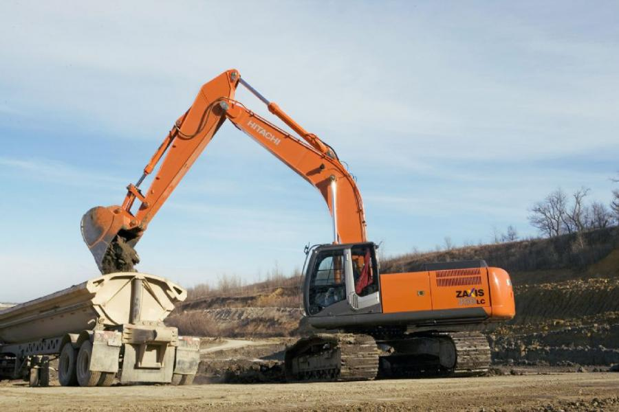 The Zaxis 350LC-3 weighs 77,269 lbs. (35,094 kg) and comes standard with a 13-ft. 1-in. (4 m) arm, a 16,314-lb. (7,400 kg) counterweight, and 32-in. (80 cm) triple semi-grouser shoes.