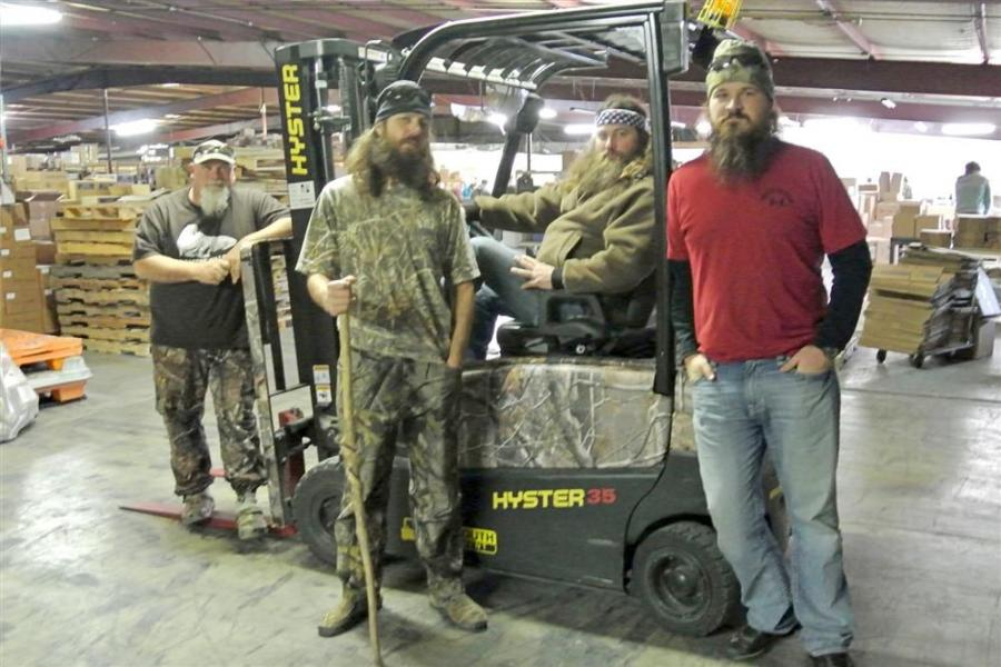 The employees of Duck Commander — and stars of the popular Duck Dynasty TV series — are using a Hyster J35XN lift truck in their warehouse.