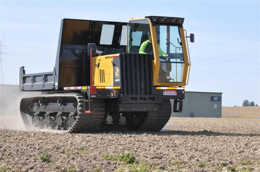 The Rayco RCT150 crawler truck can carry 15,000 lbs. (6,804 kg).