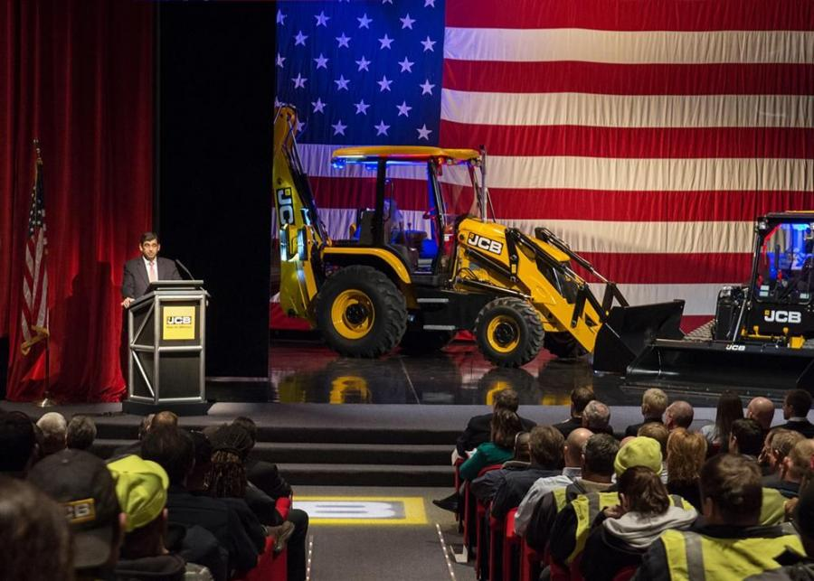Arjun Mirdha, president and CEO of JCB North America, addresses JCB employees and special guests.