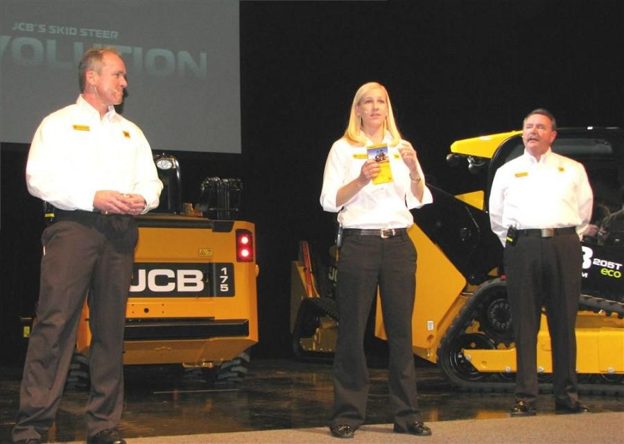 In the JCB theater, George Chaney (L), and Larry Ashley (R), introduced the new small platform JCB machines. Worldwide skid steer and compact track loader product manager, Ashby Graham, stepped into the discussion to tout the diverse range of JCB attachme