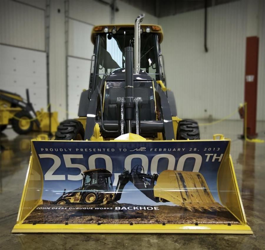 The model 310SK backhoe loader was purchased by Phoenix-based NPL Construction Co., who took delivery of the machine at a special ceremony at the Dubuque Works facility.