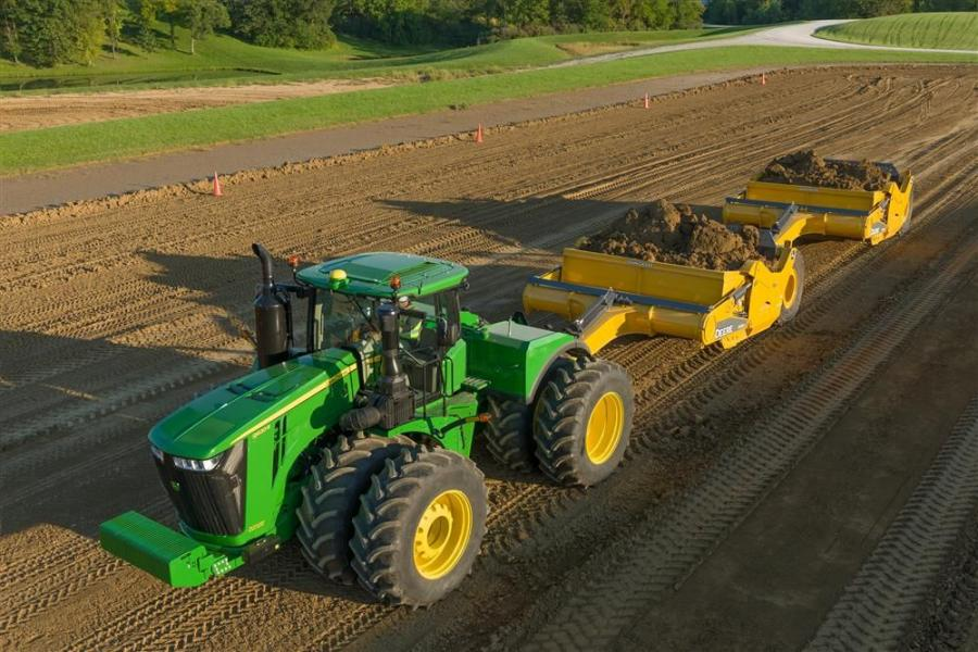 John Deere is enhancing its 9R/9RT scraper special series tractor lineup and adding its largest model to date, the 9620R.