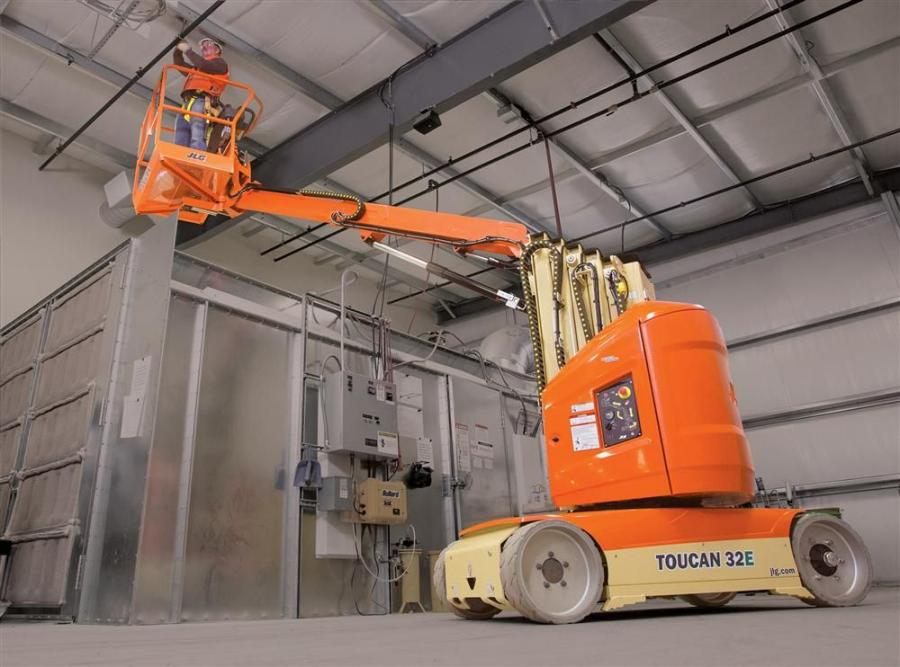 Upgrades to the T32E Toucan mast boom lift include 80 percent fewer hoses and fittings than its predecessor.  The T32E Toucan also includes a direct electric drive instead of a hydraulic drive.