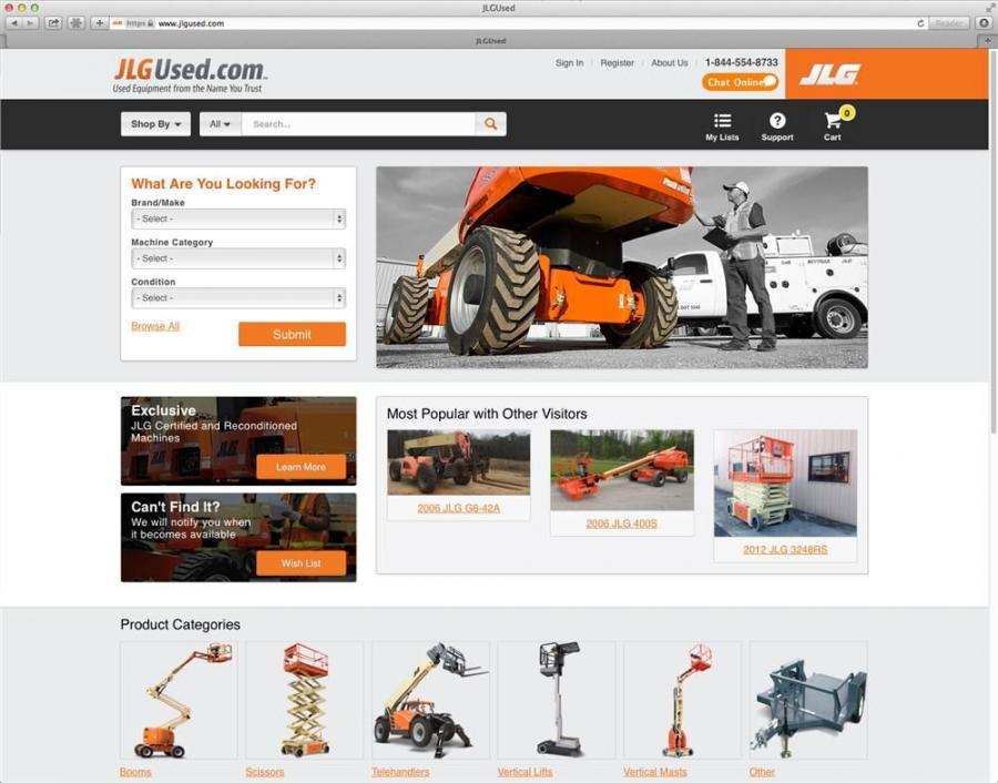 The Web site will feature a wide variety of brands and machine types, as well as exclusive JLG factory-reconditioned machines and JLG-certified pre-owned machines.