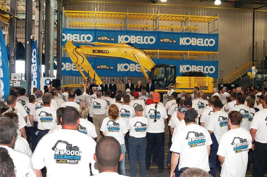Staff and management at Kobelco's Calhoun, Ga., plant are recognized for their help in producing the 25,000th Kobelco excavator.