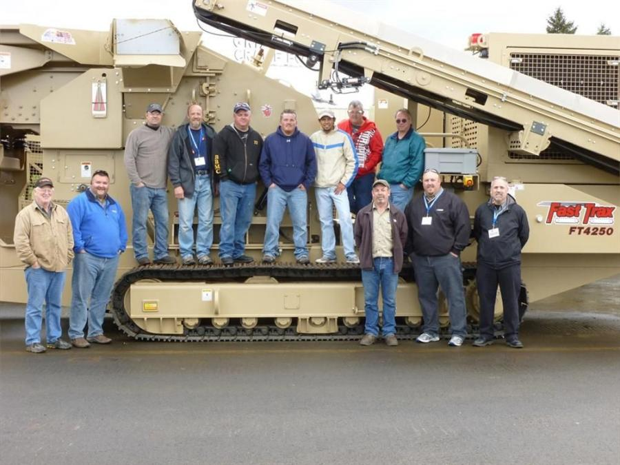 (L-R) are Cliff Bales (JCI); Terry Haas (KPI); Lee Dushane (Road Machinery & Supplies); Neil Peterson (Goodfellow Corp.); James Parsons (The Western Group); Dustin Brickey (Power Motive); Mario Perez (Madisa); Don Scott (Reuter Equipment); Leonard Teeters