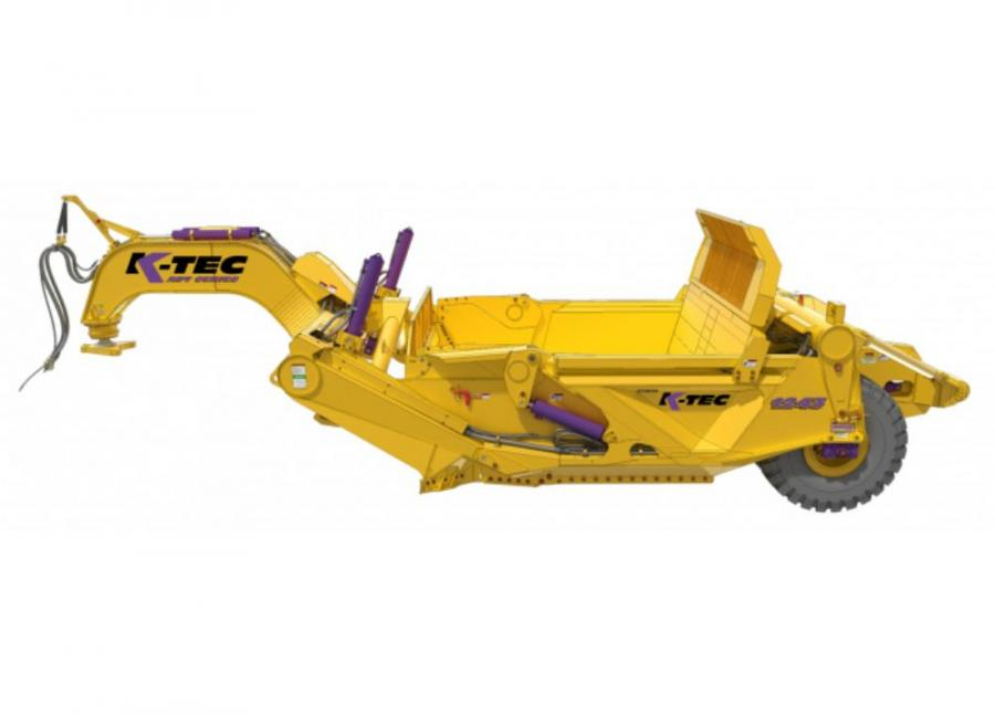 K-Tec Earthmovers' 1243ADT scraper model is designed for self-loading up to an ISO rated capacity of 43 cu. yds. (33 cu m) with a 40-ton (36 t) articulated dump truck power-unit.