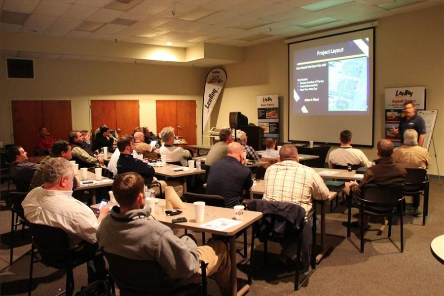 Brian Hall (far R) teaches a Best Practices of Commercial Paving course to the attendees.
