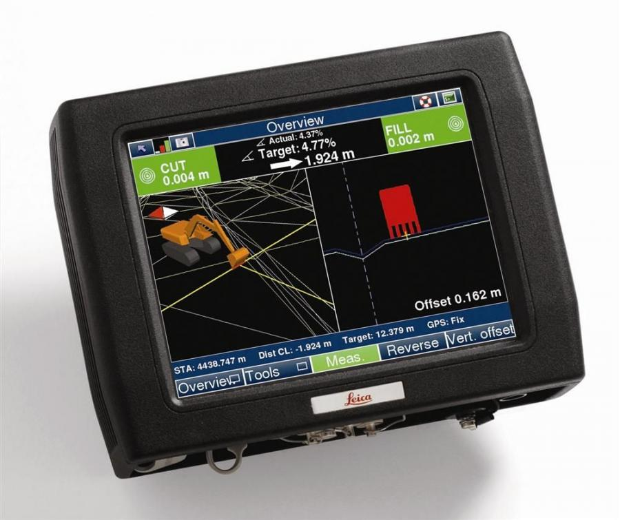 The Leica PowerDigger 3D control panel with the new PowerSnap concept provides a complete cable-free system that can easily be transferred between excavators, dozers and graders for 2D and 3D applications.