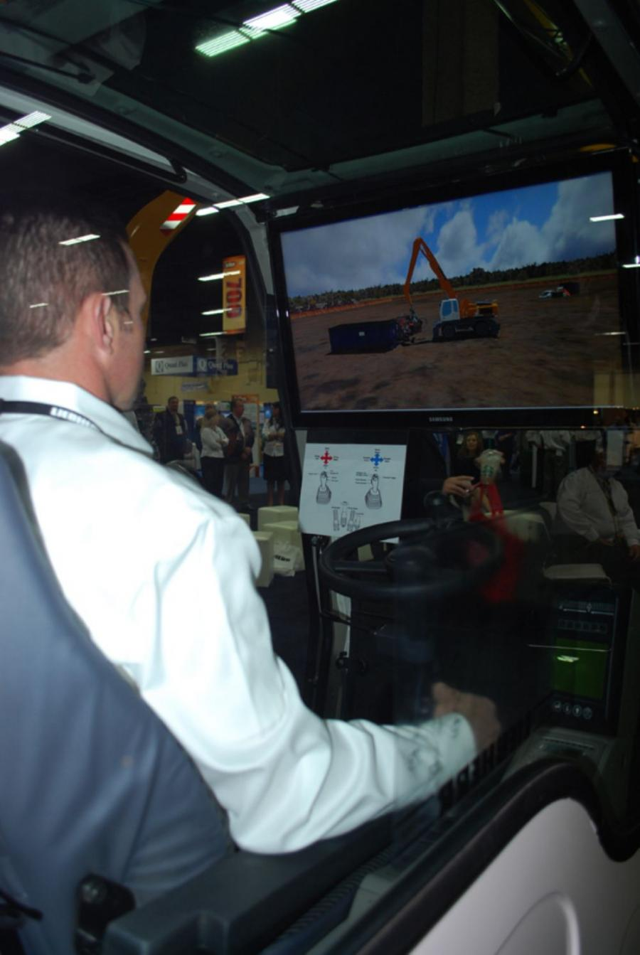 The simulator depicts the operation of a Liebherr wheeled material handler in a realistic environment performing scrap handling activities.