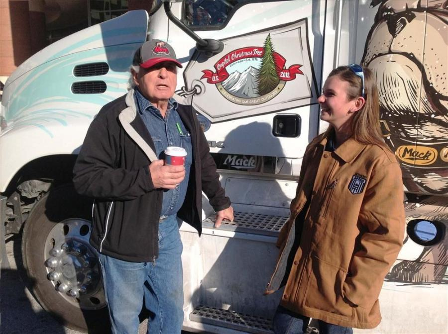 Sen. Ben Nighthorse Campbell, official driver of the Mack Pinnacle bound for the U.S. Capitol, shares his experiences as a truck driver with Kandy Kilbreth, a U.S. Forest Service Job Corps student.
