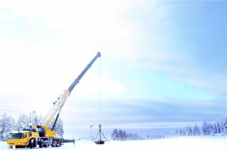 """The """"L"""" designation for the GMK5250L indicates it is a long boom all-terrain crane, and in this case the main boom is 230 ft. (70 m), which also includes Grove's Megaform shaping for better strength and stability."""