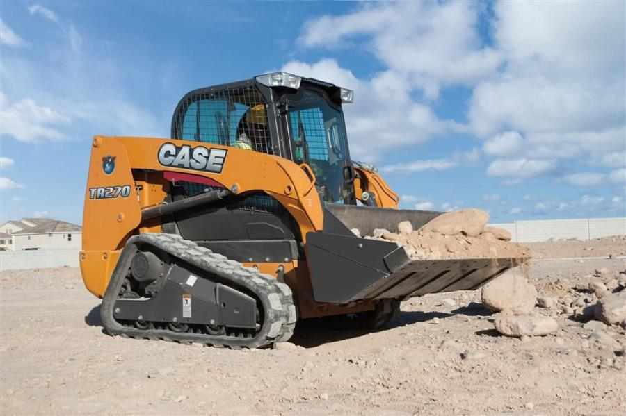 The Case TR270 Alpha Series compact track loader is an updated 74 hp (55 kW) model that increases bucket breakout force, torque and hydraulic flow compared to the previous model.