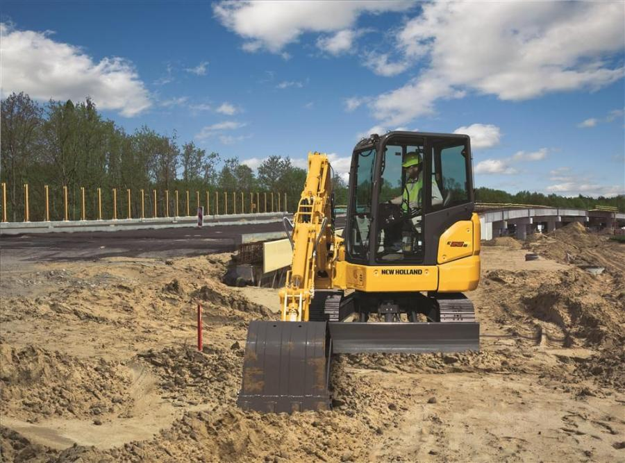 New Holland Construction's E55BX short radius mini-excavator provides big digging power with the maneuverability and accessibility of a compact model.