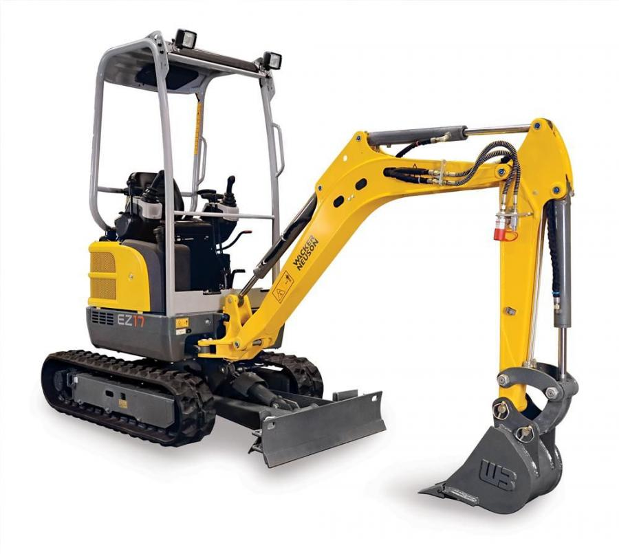Wacker Neuson's EZ 17 offers a maximum digging depth of 8 ft. 2 in. (2.5 m) and a bucket breakout force of 4,204 lbf.