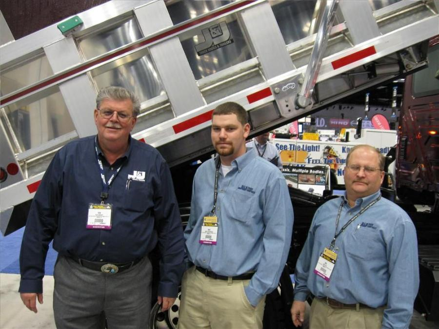 (L-R): Ronald Wright, Mike Richardson and Bob Hall of J&J Truck Bodies & Trailers greet attendees to the company's exhibit.