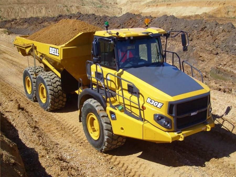 Bell Equipment North America's new Bell E-series range of articulated dump trucks (ADTs) includes the Bell B30E.