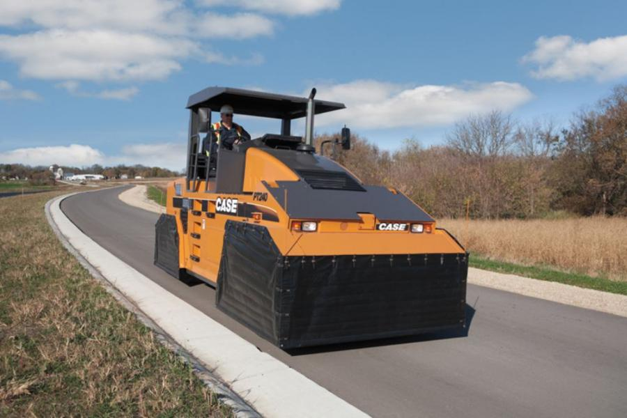 Case Construction Equipment's PT240 pneumatic tire compactor is an eight-wheeled machine designed for rolling hot mix asphalt surface treatments like chip and seal, as well as soil stabilization applications.