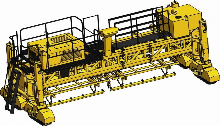 Frame sections can be added or removed by turning the machine's tracks 90 degrees and walking the end car with attached cure tank to the required width. Frame inserts are available in 4 ft. (1.2 m), 8 ft. (2.4 m), and 12 ft. (3.7 m) lengths.