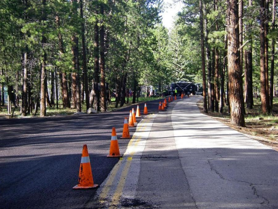 Before & After: Long-time staff members estimate that the remote road system leading from Jacob's Lake, Ariz., to the North Rim Lodge had received no major maintenance for at least 15 years.