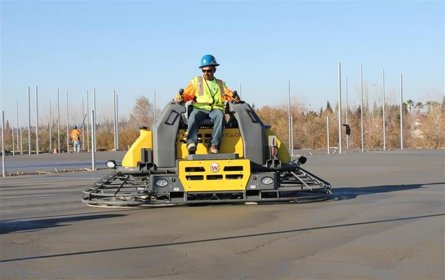 """The latest addition to the expanding ride-on trowel line features a more powerful Tier IV final engine and heavy-duty hydraulic cooling system.  Contactors can use this trowel to pan the floors """"tight"""" in high ambient air temperatures."""