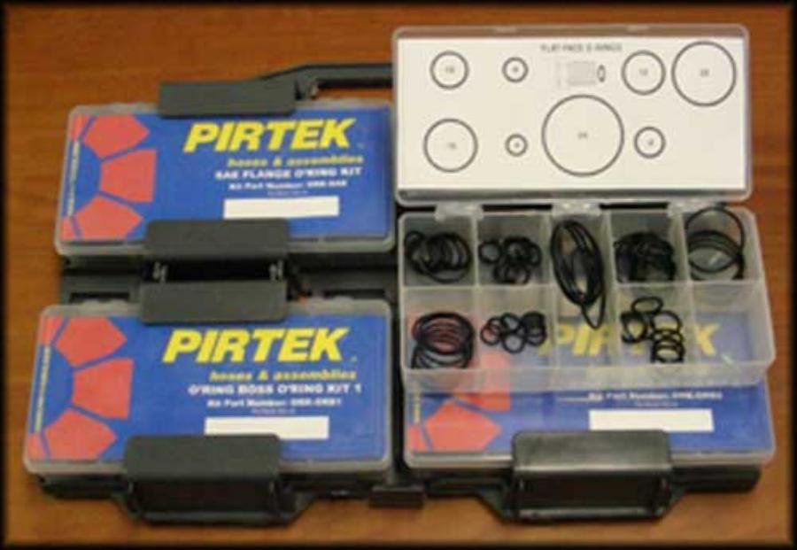 The O-Ring Kits consist of a carry case, four separate product boxes with Pirtek branding and a description of the contents of each box.