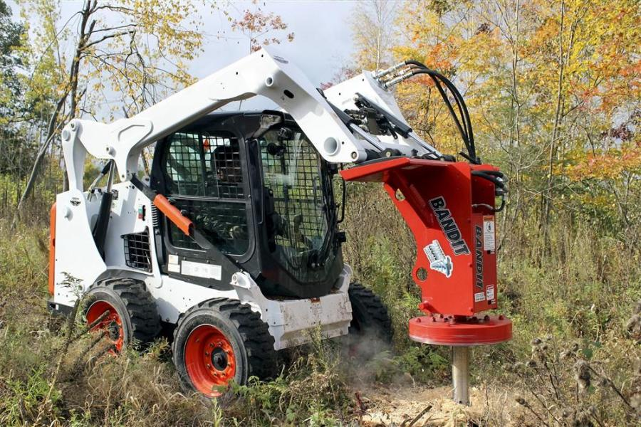 The stump gun connects to any skid steer with a quick attach plate.