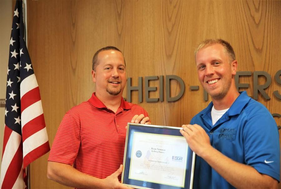Ryan Newman (L) was nominated by Kyle LaCroix for the Patriotic Employer Award.