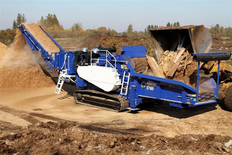 With a feed opening of 60 by 40 in. (152 by 102 cm) combined with Peterson's high lift feed roll; the 5710D can reduce a wide range of material, including stumps.