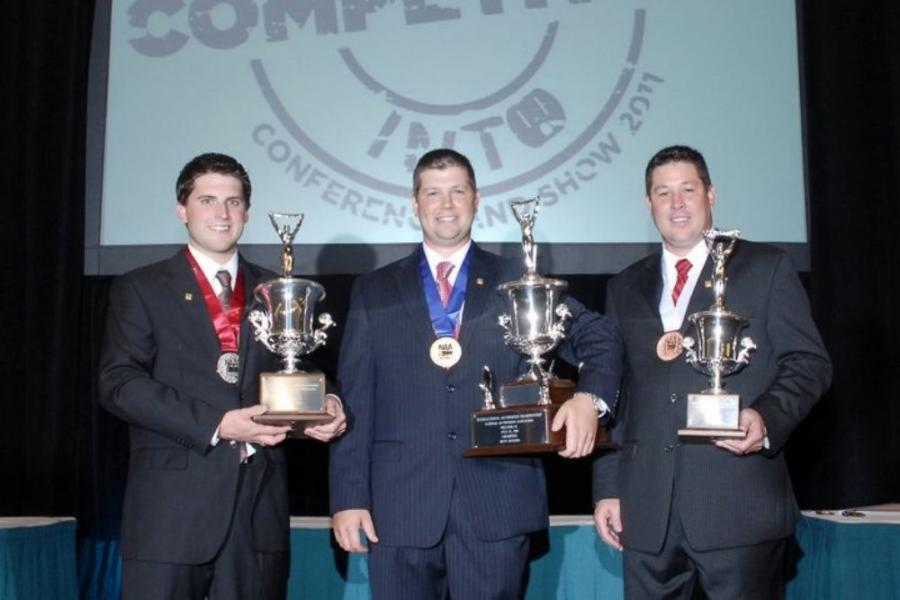 (L-R) are Dustin Rogers, reserve champion; Joseph Mast, grand champion; and Jason Miller, second runner up.