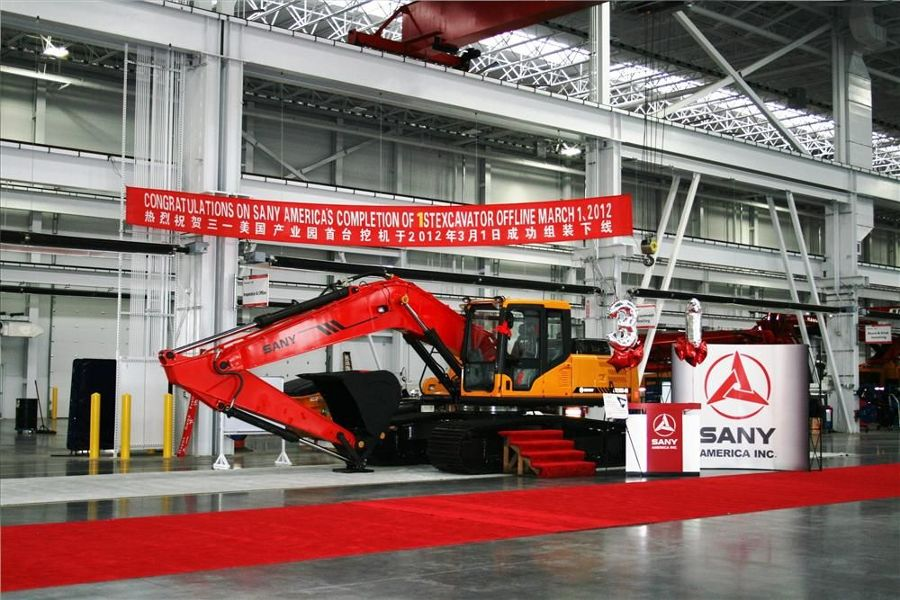 SANY America completed the first excavator assembled at the company's North American headquarters.