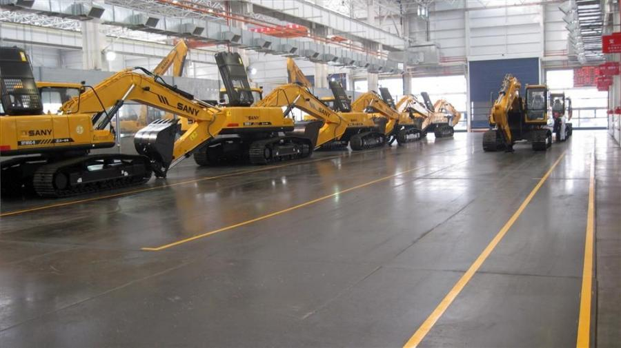 SANY excavators await shipment from the factory in Lingang, China.