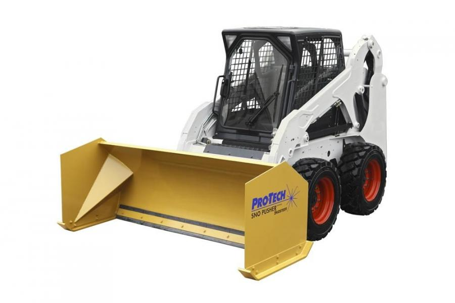 A total of 45 rubber-edged Sno Pushers are available with options for attaching to any make of loader, backhoe, skid steer and compact tractor.