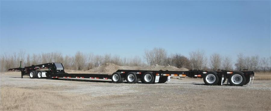 The 65-ton (59 t) HRG hydraulic gooseneck trailer is engineered with heavy-duty T-1, 100,000-psi minimum yield steel construction, upper-flange reinforcement on the deck and auxiliary cross members for extra support.