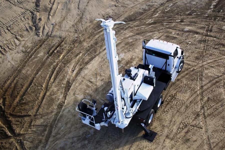 The Terex 330 auger drill, with 52,588 ft.-lb. of drill torque and drill depths up to 20 ft. (6 m) with pole setting capabilities, features a newly redesigned control console, mast mounted service winch and rotating operator's platform.