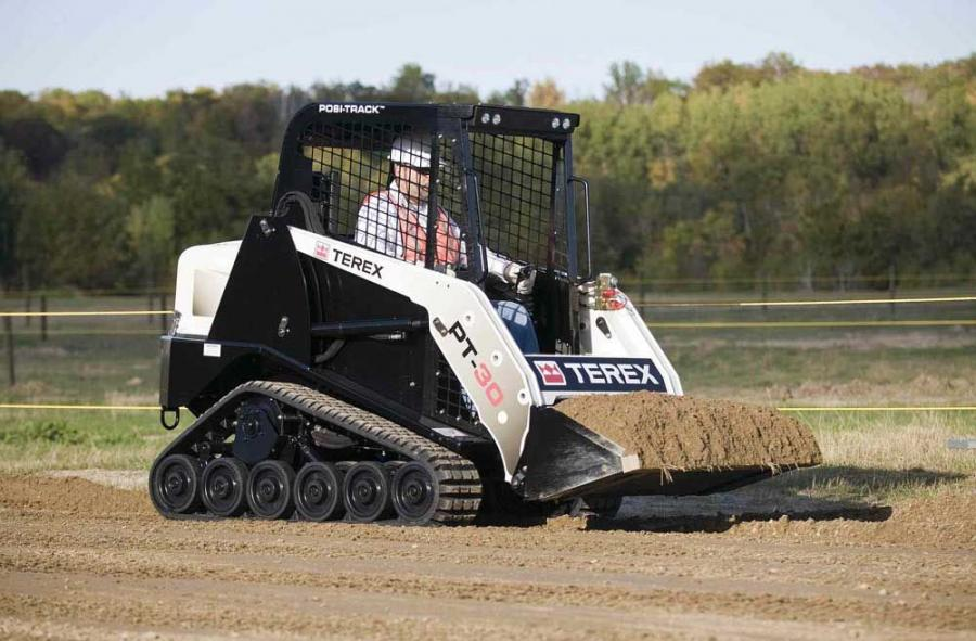 The Terex PT-30 compact track loader is designed with a 26 percent increase in lift height, a 16 percent increase in operating capacity and a 45 percent increase in bucket rollback.