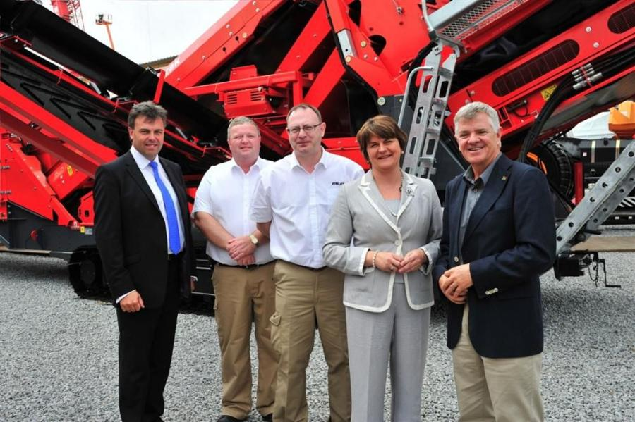 (L-R) are Alastair Hamilton, chief executive, Invest NI; Nigel Irvine, sales and marketing director, Terex Finlay; Paul O'Donnell, global business line director, Terex Finlay; Arlene Foster, MLA minister of enterprise, trade and investment in Northe