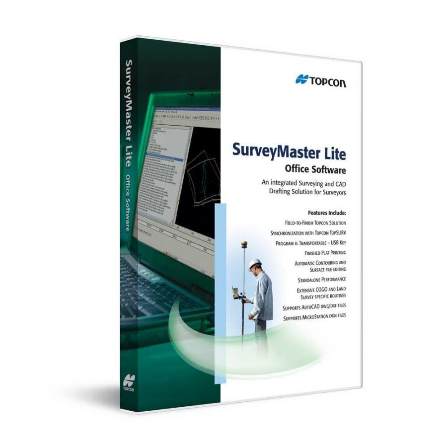Modeled from Topcon's SurveyMaster software program, SurveyMaster Lite provides tools required to produce final plats and survey calculations for property surveys, topographic maps and ALTA surveys.